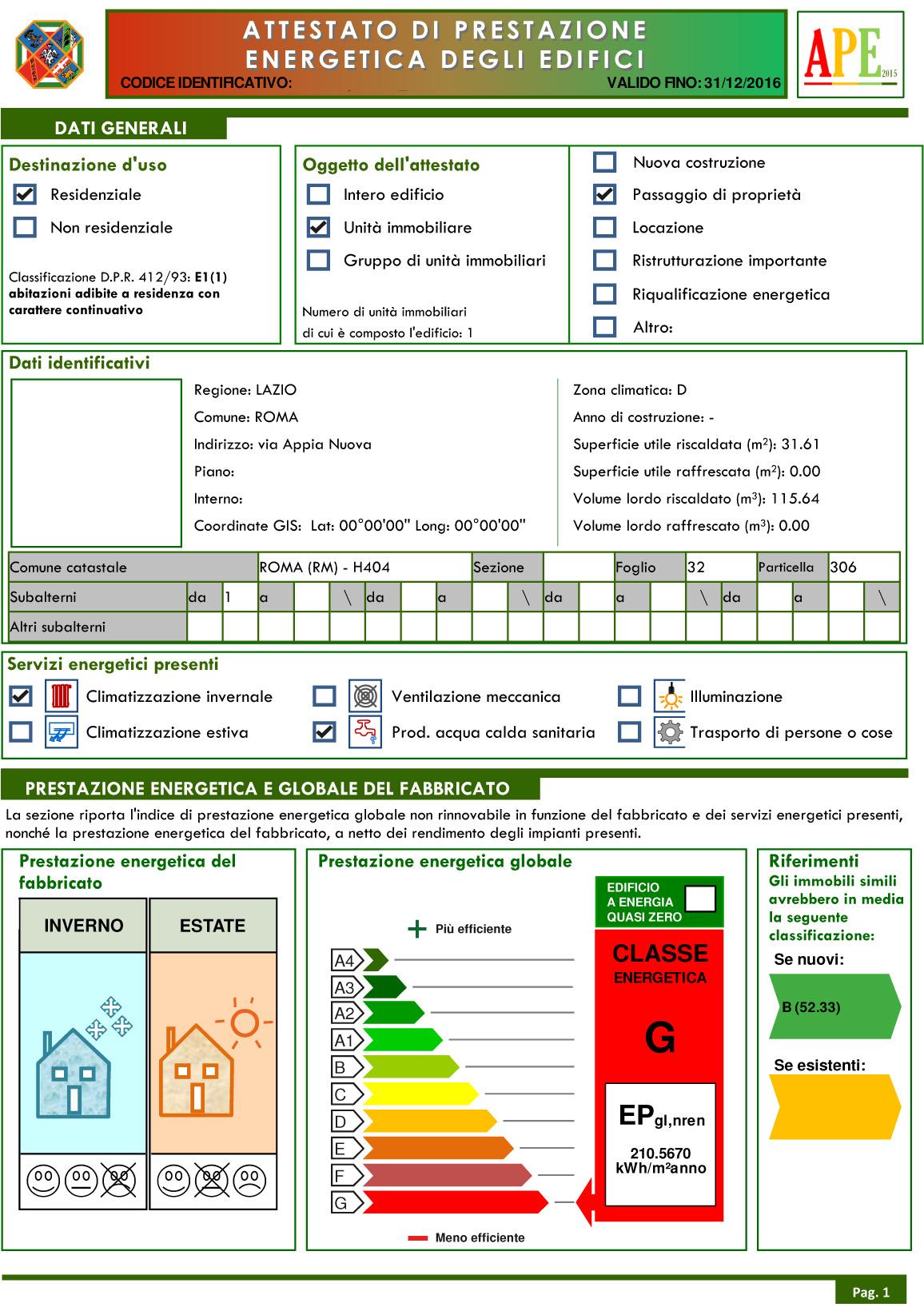 attestato ape certificato energetico roma 58 euro